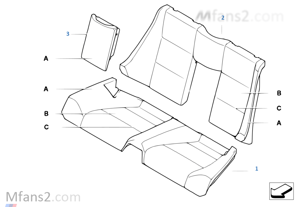 Individual cover, seat, rear, leather N5