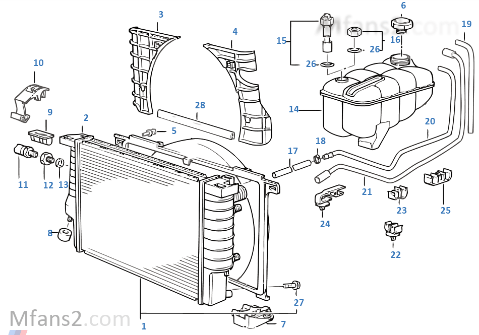 radiator  expansion tank  frame