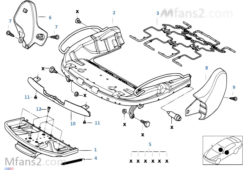 Sports seat frame mech./el./single parts